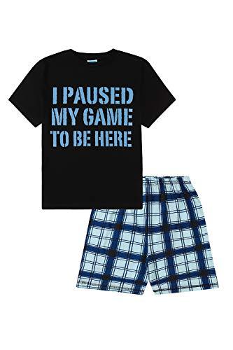 Kurzer Schlafanzug mit Aufschrift 'I Paused My Game to Be Here', Grau / Schwarz Gr....