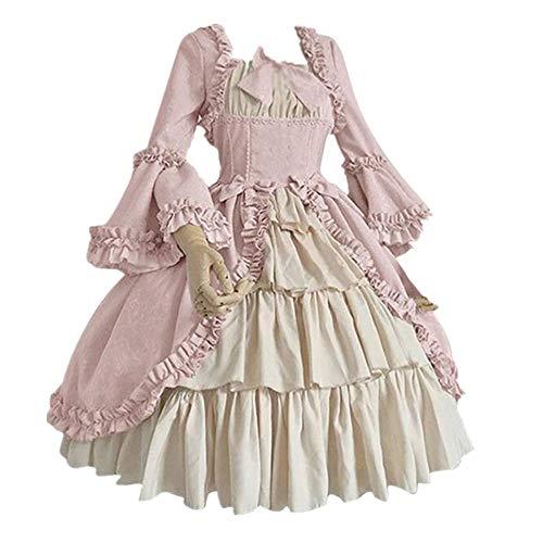 FRAUIT Damen Vintage Mittelalterlichen Kleid Gothic Cosplay Kleid mit Trompetenärmel Mittelalter Party Kostüm Kleidung Karneval Square Kragen Festival Tanzparty Bankett Kleid S-5XL
