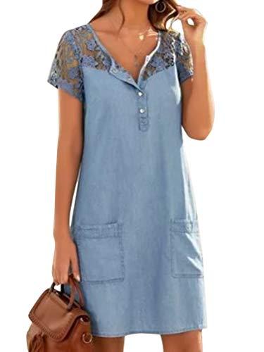 ORANDESIGNE Jeanskleid Sommerkleid Damen Jeans Kleider V-Ausschnitt Kurzarm Strandkleider Einfarbig A-Linie Kleid Boho Knielang Kleid Denimkleid C Blau M