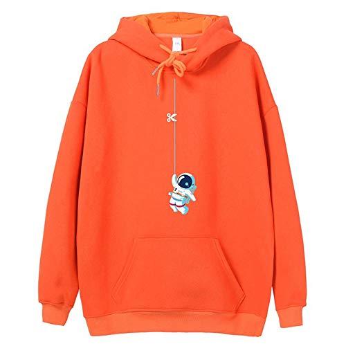 Anoauit Dickes warmes Hoodie-Sweatshirt für Herren Kapuzenpullover mit Kapuze Casual Fashion Hoodies-Sweatshirts im Streetwear-Stil mit Känguru-Taschen-Mandarine 1_Mittel