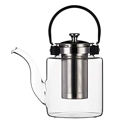 Purefold 50 ounces Glass Teapot with Removable Infuser, 1200ml Blooming and Loose Leaf Tea Maker, Stovetop Safe Tea Kettle