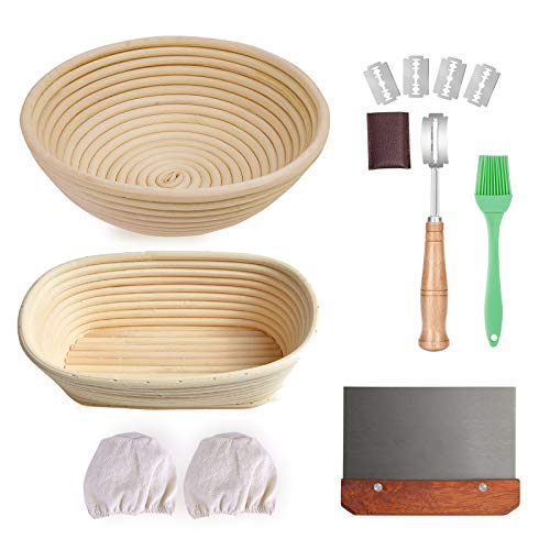 HIRALIY 9 Inch Round & 10 Inch Oval Bread Proofing Basket Set Of 2, Natural Rattan bread banneton proofing with Bread Lame + Dough Scraper + Linen Liner +Basting Brush for Bread Making Tools