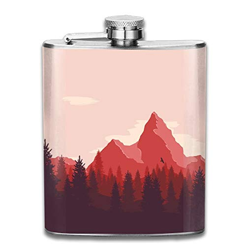 Hoklcvd Artwork Nature Landscape Mountains Trees Birds Firewatch Gifts Top Shelf Flasks Stainless Steel Flask