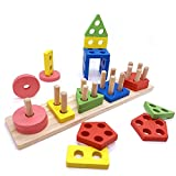 euyecety wooden educational toy toddler toy, montessori toy sorting & stacking toy wooden puzzle
