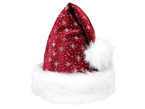 Bonnet de Père Noël pour enfants et bébés de différentes couleurs et formes, avec pompon, lumière LED clignotante, idéal pour fête de Noël, déguisement de Noël, piles incluses Taglia unica Bordò