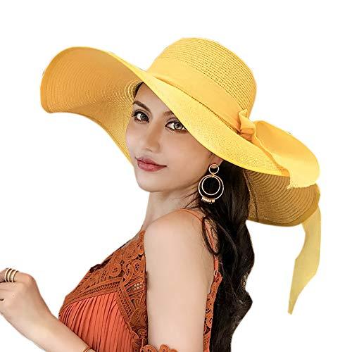 Elonglin Damen Sonnenhut faltbarer Sommerhut UPF 50 + Strohhut Strandhut mit Breite Krempe Gelb Kopfumfang 55-60cm Verstellbar