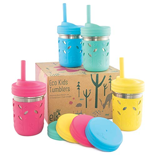Elk and Friends Stainless Steel Cups   Mason Jar 10oz   Kids & Toddler Cups with Silicone Sleeves & Silicone Straws with Stopper   Sippy cups, Spill proof cups for Kids, Smoothie Cups