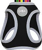 DDOXX Brustgeschirr Air Mesh, Step-In, reflektierend | viele Farben | für kleine, mittlere & mittelgroße Hunde | Hunde-Geschirr Hund Katze Welpe | Katzen-Geschirr Welpen-Geschirr | Schwarz, XS