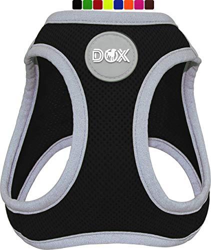 DDOXX Brustgeschirr Air Mesh, Step-In, reflektierend | viele Farben | für kleine, mittlere & mittelgroße Hunde | Hunde-Geschirr Hund Katze Welpe | Katzen-Geschirr Welpen-Geschirr | Schwarz, M