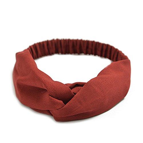 Qinlee Chiffon Stirnband Haarbänder Einfarbig Haar Accessoires Yoga Sport Kopftuch Mädchen Bandana Outdoor Sport Zubehör Modegeschenk Frisuren Haar Band Gestylten Haaren (Rot)