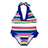 Amlaiworld Conjuntos de Bikinis para niñas Verano para niños Adolescentes Niñas Rayas Arcoiris Traje de baño de Dos Piezas Halter Tops Traje de baño Corto Bikini Outfit