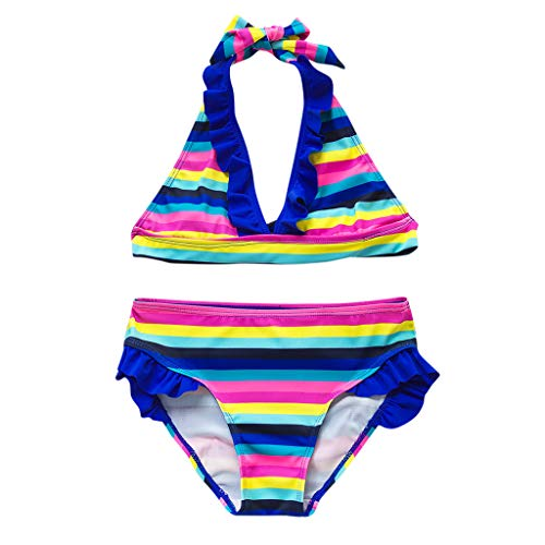 Conjunto de Bikini de Traje de baño Dividido a Rayas arcoíris sin Mangas con Volantes para niñas