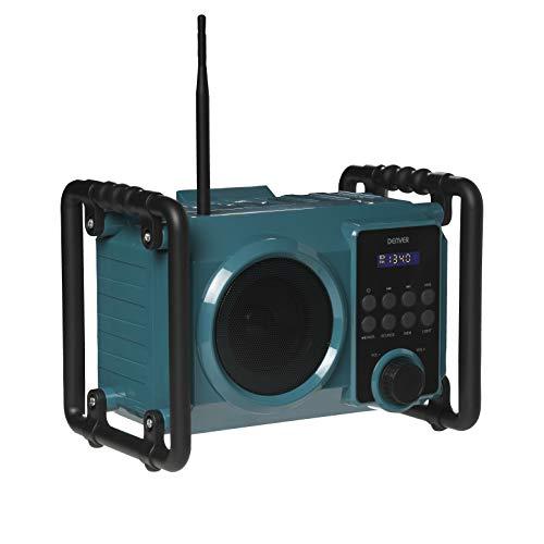 Baustellenradio DENVER WRB-50 - UKW-Radio-Tuner - Bluetooth-Verbindung, USB und AUX-Eingang - sehr robust - Lautstärkeausgang: 5 W - Akku oder Stromversorgung
