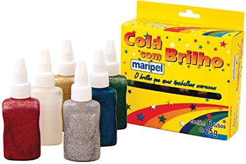 Cola com Glitter, Maripel 4666, Multicor, Pacote de 6