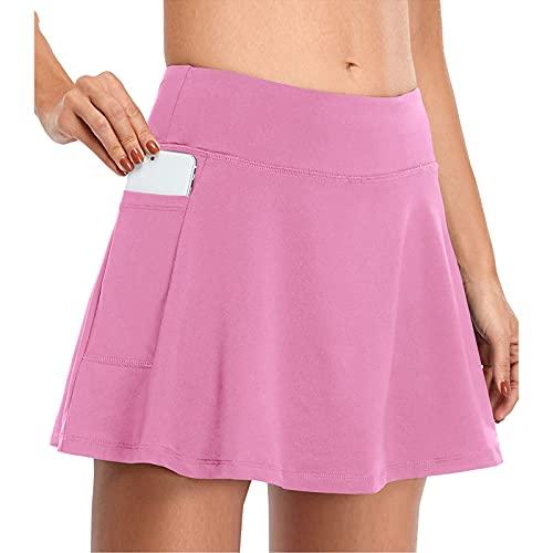 Falda de Tenis Yoga Falda Ultra Mujer con Pantalones Cortos Atléticos Gym Tennies Falda Deportiva Corto Falda Plisada A-Line Mini Skorts de Tenis Golf con Bolsillos Interiores para Shorts