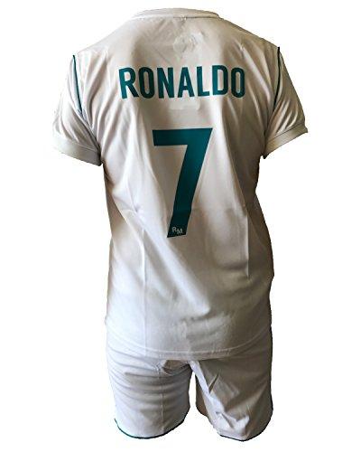 Conjunto Equipacion Camiseta Pantalones Futbol Real Madrid Cristiano Ronaldo 7 Replica Autorizado 2017-2018 Niños Adultos (Talla Small)