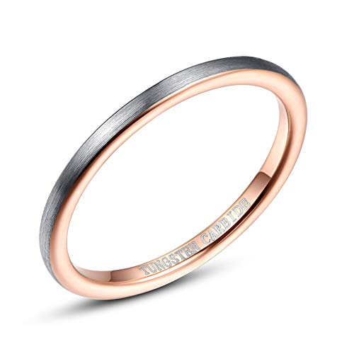 VAKKI 2mm Women's Tungsten Wedding Rings Rose Gold Plated Engagement Bands Matte Silver Brushed Size P 1/2
