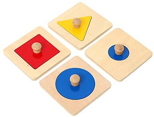 Montessori - Rompecabezas de madera con forma geométrica para bebé, rompecabezas a juego de madera con perilla de madera para aprender a juego (1 2 3 4 años)