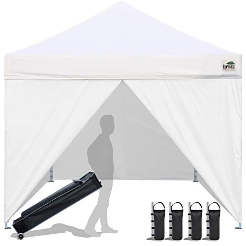 Eurmax 10 x 10 Pop up Canopy Commercial Tent Outdoor Instant Canopies Party Shelter with 4 Zippered Sidewalls and Roller Bag Bonus Canopy Sand Bags(White)
