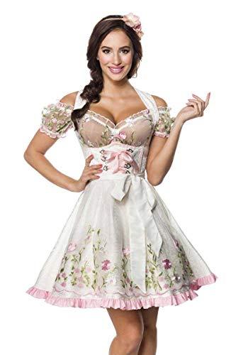 Mini Brokat Dirndl Set Tracht Trachtenkleid Kleid Wiesn Oktoberfest Bluse 36-46 Weiß L (40)