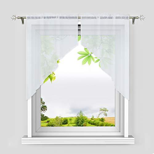 Heichkell Voile Scheibengardine 2-Teilige Kleinfenster Gardine mit Tunnelzug Bogen Kurzstores Küchengardinen leichte Qualität Weiß BxH 90x100 cm (Jedes Stück)