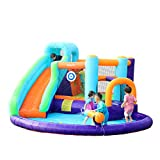 AirMyFun Inflatable Bounce House, Jumping Castle with Water and Slide, Inflatable Bouncer with Air Blower, Water Spray for Summer Time, Idea for Kids (Water Park)