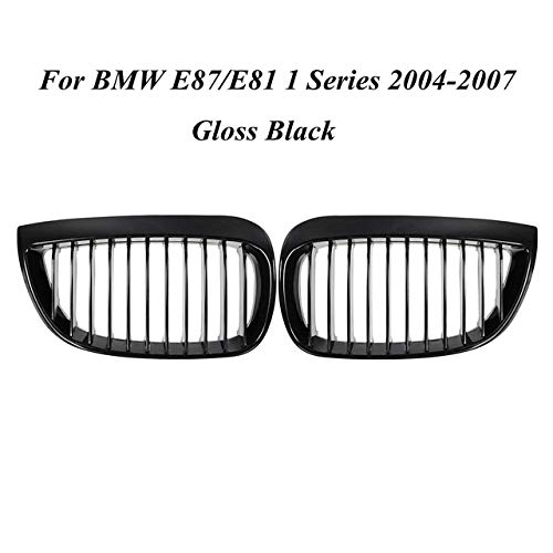 Autorennen-Grills Paar Vorder Kidney Grill Roste Fit For BMW E81 E87 1 Series 2004 2005 2006 2007 Car Styling Racing Grill Frontstoßstange Grille (Color : Gloss Black)
