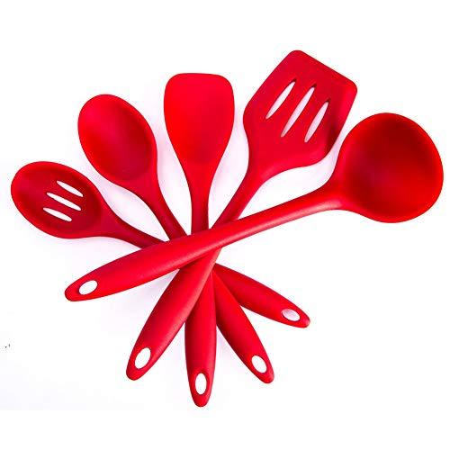 BYbrutek - Set di Utensili da Cucina in Silicone, cucchiaio, mestolo, spatola e Paletta, Senza BPA, Lavabili in lavastoviglie, antiaderenti, Resistenti al Calore (5 pezzi rosso)