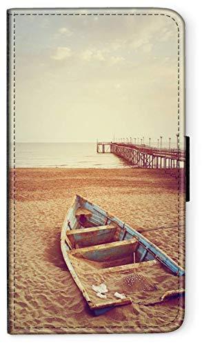 blitzversand Flip Case Seefahrt SEGELSCHIFFE kompatibel für Samsung Galaxy A7 2017 Ruderboot Strand Handy Hülle Leder Tasche Klapphülle Brieftasche Etui rund um Schutz Wallet M1