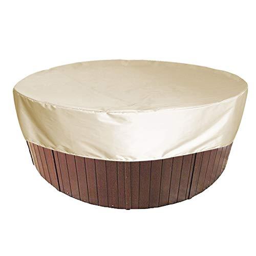 HEWYHAT Cubierta Redonda para bañera de hidromasaje, Cubierta Impermeable para SPA 100% UV y Resistente a la Intemperie con Bolsillos elásticos y de Aire para bañera Exterior,Beige,215×70cm