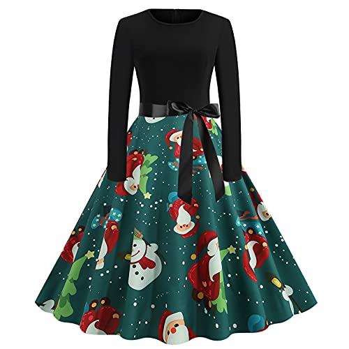 AOCRD Vestido de Navidad para mujer con estampado de cuello redondo, mangas largas, elegante vestido de noche, cintura alta, vestido de cóctel y fiesta, vestido largo, verde, M