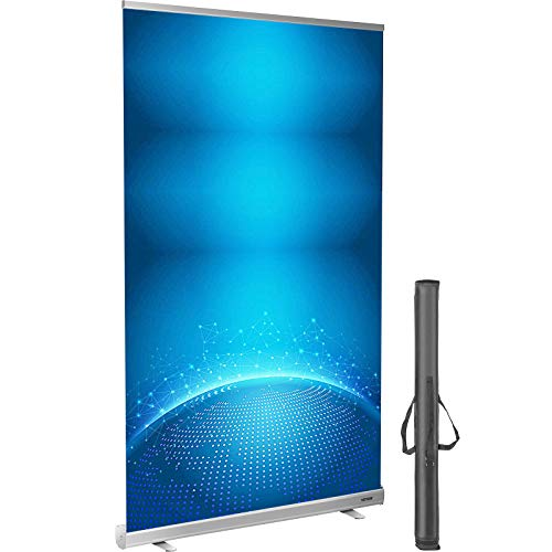 VEVOR Floor Standing Sneeze Guard, 48'x80' Roll Up Banner Stand, Portable Pull-Out Standing Divider, Stand Roll Up Banner for Cafe, Office, Cashier, Store, Restaurant, Classroom and Receptionist