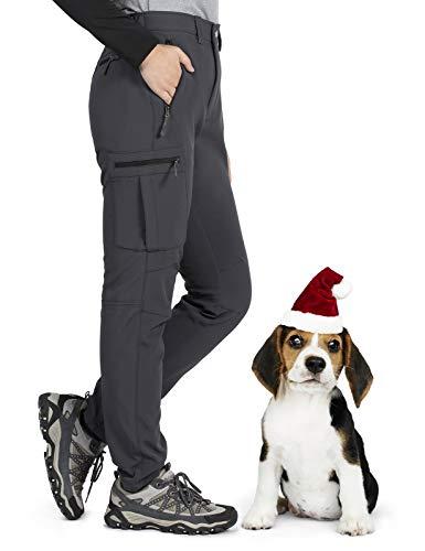Gouxry Pantalones de esquí para Mujer, Forro Polar con Aislamiento de Invierno, Resistente al Agua, al Aire Libre, Snowboard, Senderismo, para Mujer (Gris, S)