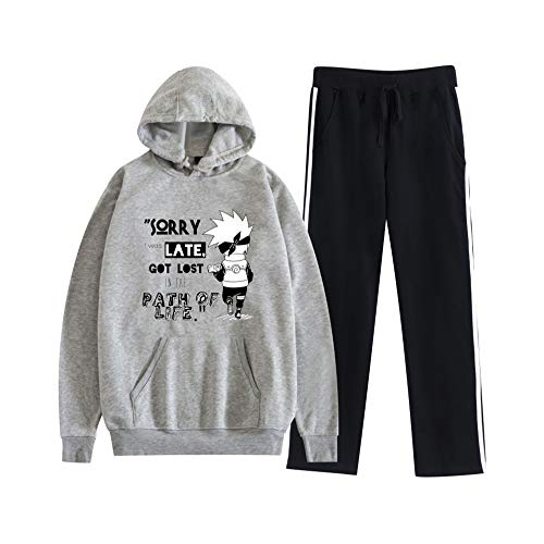 MLX-BUMU Naruto Sudadera con Capucha Pantalón De Chándal Traje Jersey + Pantalón Conjunto Ropa Unisex,L