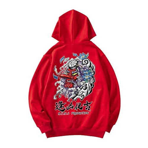 Sweatshirt Hommes Ajouter des Engrais for Augmenter vêtements Les Couples Hommes Automne et Veste épaisse d'hiver adapté for Les Personnes de Toutes Tailles (Color : Red, Size : S/160)