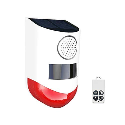Lasamot Detector de Sensor de Movimiento infrarrojo inalámbrico de 433 MHz con energía Solar, Sirena estroboscópica, Alarma de 120dB, Sensor PIR Impermeable