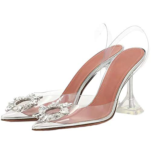 Sandalias Transparentes en Punta para Mujer de Verano, Zapatos Transparentes de tacón Transparente, Sandalias con Puntera de tacón de Aguja con Punta