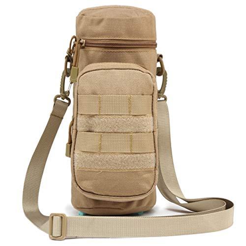 TRIWONDER Tactical MOLLE Wasserflaschen-Tasche H2O Hydration Carrier, Militär Flaschenhalter Molle-Getränkehalter Reise Wasserflasche Tasche für Rucksack Camping Outdoor, Coyote Tan mit Gürtel, 10