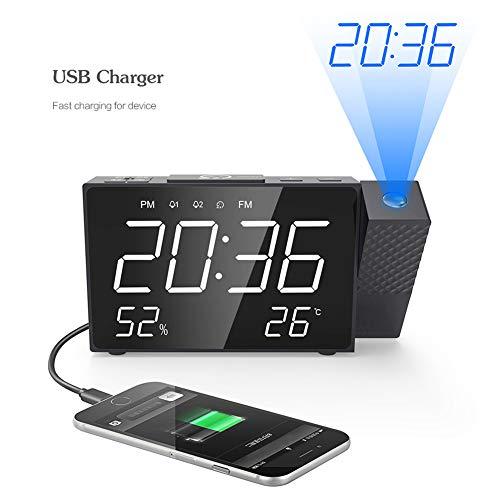 Cqing Despertador de la proyección con Radio FM, Pantalla LED Digital, Hora de Temporizador Temporizador de Temperatura hasta 180 ° proyector, el Reloj de Mesa con dimmer, USB de Carga