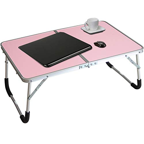 Jucaifu Foldable Laptop Table, Bed Desk, Breakfast Serving Bed Tray, Portable Mini Picnic Table & Ultra Lightweight, Folds in Half with Inner Storage Space (Pink)