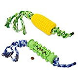 HIPIPET 2 Packs Dog Chew Toys Treat Dispensing Toy Puppy Teething Durable Natural Rubber and Cotton Rope for Small Medium Large Breeds