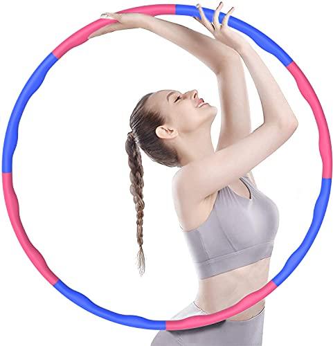 FanIce Hula Reifen Hoop, Hoola Reifen Hoop zur Gewichtsreduktion und Massage, 6-8 Segmente Abnehmbarer Hoop, Einstellbar Breit, Reifen mit Schaumstoff, für Training, Sport und Bauchformung(1Kg)