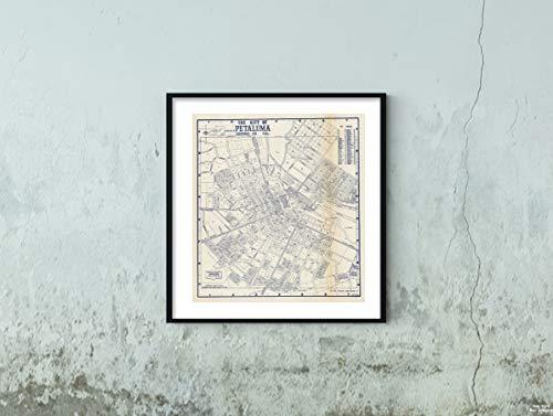 Map State Atlas, City of Petaluma, Sonoma County, California. 1938 Historic Antique Vintage Reprint Size: 22x24 Ready to Frame