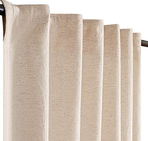 Linen Cotton Tab Top Curtains, Farmhouse Cotton/Linen Curtains, Curtain 2 Panel Set -50x108 Natural Curtains, Reverse Window Panels, Curtain Drapes Panels, Bedroom Curtains, Set of 2
