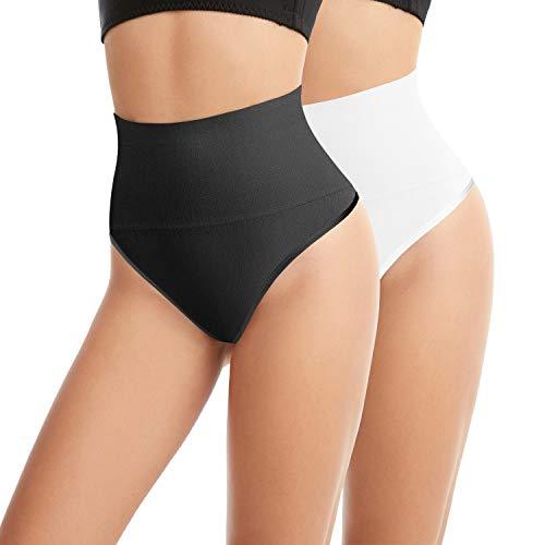 L&K-II 2 Unidades Tanga String Body Faja sin Costuras para Mujeres 3601 Negro Blanco S/M