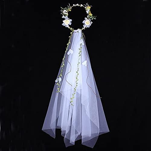 Romantic Garland Bridal Veil Flower Handmade Crown Whi In stock Award-winning store Hairbands