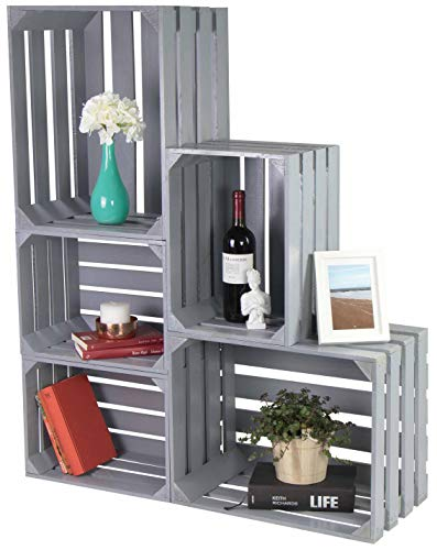 LAUBLUST 5er Set Vintage Holzkisten - Kisten in 2 Größen, 50x40x30cm / 40x30x25cm, Grau - Möbelkiste & Wein-Kiste