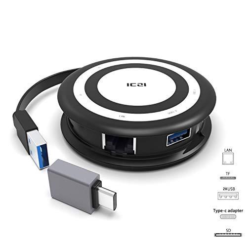 ICZI Hub USB C 5 in 1 Adattatore Type C a USB 3.0 2 Porte USB 3.0 Gigabit Ethernet 2 Porte Lettore di Schede MicroSD SD per Dell XPS13, HP Spectre X360 e altre USB C Dispositivo
