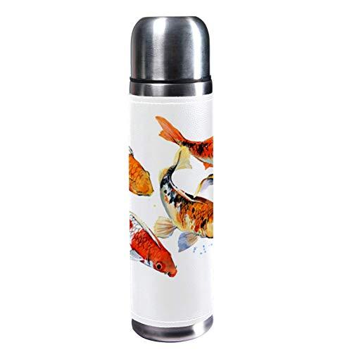 MUMIMI Botella de agua de acero inoxidable aislada al vacío de 17 onzas, ideal para deportes, café, viaje, de cuero auténtico, sin BPA, ilustración de carpas Koi