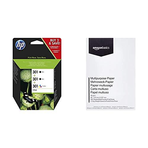 HP 301 Multipack Original Druckerpatronen 2x Schwarz 1x Farbe fur HP Deskjet HP ENVY HP Photosmart Amazon Basics Druckerpapier DIN A4 80 gm 500 Blatt Weis
